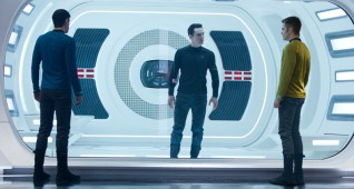 (Left to right) Zachary Quinto is Spock, Benedict Cumberbatch is John Harrison and Chris Pine is Kirk in STAR TREK INTO DARKNESS from Paramount Pictures and Skydance Productions.