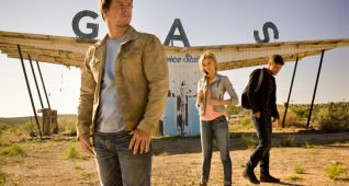 Mark Wahlberg, Nicola Peltz and Jack Reynor on the set of TRANSFORMERS: AGE OF EXTINCTION