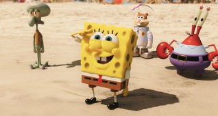 Left to right: Squidward Tentacles,.SpongeBob SquarePants, Sandy Cheeks and Mr. Krabs.  SpongeBob SquarePants, the world's favorite sea dwelling invertebrate, comes ashore to our world for his most super-heroic adventure yet in THE SPONGEBOB MOVIE: SPONGE OUT OF WATER, from Paramount Pictures and Nickelodeon Movies.