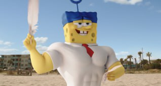 SpongeBob SquarePants (as The Invincibubble).  SpongeBob SquarePants, the world's favorite sea dwelling invertebrate, comes ashore to our world for his most super-heroic adventure yet in THE SPONGEBOB MOVIE: SPONGE OUT OF WATER, from Paramount Pictures and Nickelodeon Movies.