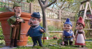 Sherlock Gnomes, Watson, Gnomeo and Juliet in Sherlock Gnomes from Paramount Pictures and MGM.