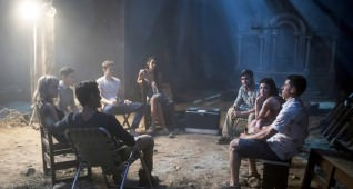 "(Clockwise, bottom left) TYLER POSEY, VIOLETT BEANE, HAYDEN SZETO, NOLAN GERARD FUNK, SOPHIA TAYLOR ALI, LANDON LIBOIRON, LUCY HALE and SAM LERNER in ""Blumhouse's Truth or Dare,"" a supernatural thriller from Blumhouse Productions.  A harmless game of ""Truth or Dare"" among friends turns deadly when someone—or something—begins to punish those who tell a lie—or refuse the dare."