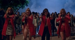 Em (Abra) , Lily (Odessa Young), Bex (Hari Nef) and Sarah (Suki Waterhouse) in ASSASSINATION NATION. Courtesy of NEON